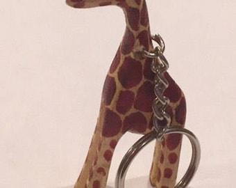 Giraffe Keychain- Hand Carved in Uganda