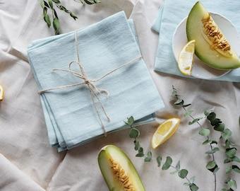 Nouvelle maison - menthe tissu serviettes de table set de 6 - serviettes en lin doux - serviettes en tissu vert menthe - pendaison de crémaillère cadeau