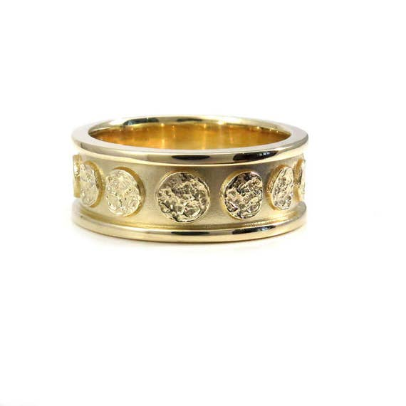 Mens Yellow Gold Moon Wedding Band - Modern Celestial 8mm Wide Engagement Ring