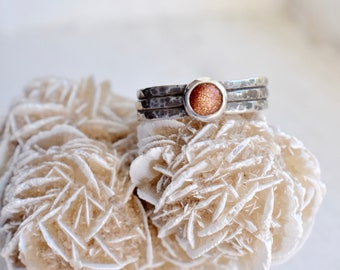 Goldstone Hammered Texture Sterling Silver Ring