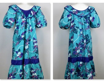 Vintage Hawaiian Dress / MuuMuu / Beach Cover Up, Sz L