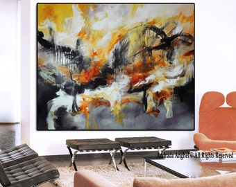 Large abstract art orange Print of painting, orange gold gray painting, modern painting, large print, huge wall art, large canvas print