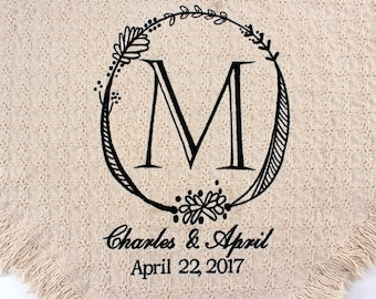 Personalized Wedding Embroidered Throws and Blankets | Custom Embroidered Monogrammed  | Wedding Gift | Completely Personalized by You! USA