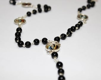 Servite rosary Our Lady of The seven sorrows Black beads mater dolorosa chaplet of seven sorrrows dolor rosary