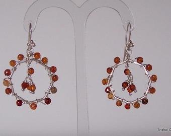 Sterling silver earrings with carnelian