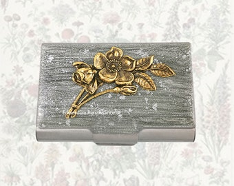 Art Nouveau Flowers Large Business Card Case Inlaid in Hand Painted Silver Enamel Metal Wallet Victorian Botanicals Personalized Options