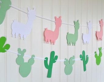 Llama Banner - Llama Birthday Party Decorations - Llama Garland - Llama Baby Shower Decor - Llama Cactus Party - Alpaca  - Cactus Banner