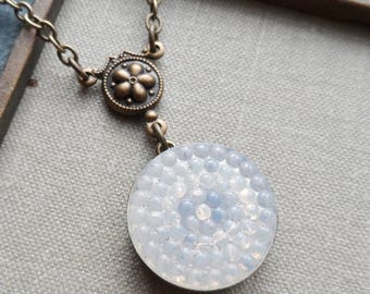 Vintage Glass Button Necklace, Hobnail Pattern, Moonbeam