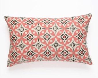 Elmas Handscreen Printed Cushion - Fresh Pink / Charcoal Grey 30x50cm