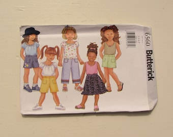 Butterick 6560 - Toddler Girl's Summer Separates - Size 2-3-4-5 - Tops, Pants, Shorts, Skirt - Uncut and Factory Folded - MSRP 8.95