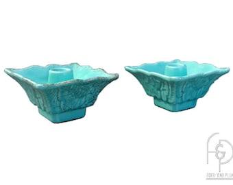 Pair Mid Century Turquoise with Gold Splatter Glaze Ceramic Candleholders