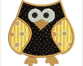 Wide-Eyed Owl Applique Machine Embroidery Design 5x7 and 6x10 Hoop Bernina Viking Pfaff Babylock Janome Elna and More