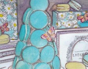 Original Watercolour Painting Print - Laduree Macarons Spring in Paris