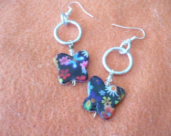 Dangle Butterfly Polished Plastic Earrings, Both Sides Different, Silvertone Jumprings and Ear Wires,