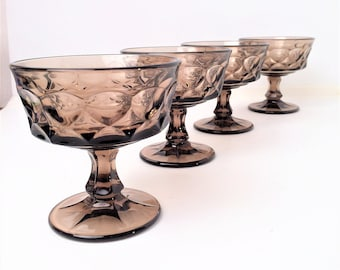 Noritake Perspective Brown Champagne Sherbet Glass, set of 4