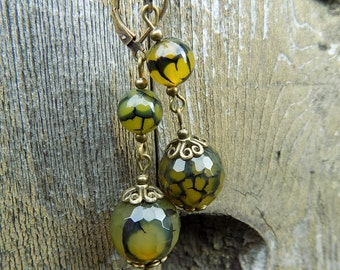 Unique Green Brown Agate Dragon Veins Agate Faceted Bronze Leaverback Dangle Earrings with choice of Hooks