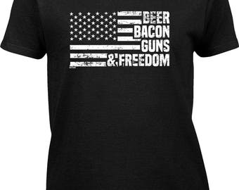 Beer Bacon Guns & Freedom Womens Short Sleeve T-shirt -Red White Blue America Holiday Pool BBQ Fireworks -DT-00724