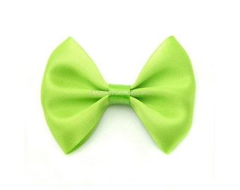 Apple Green Hairbow, 3 Inch Satin Bow, Basic Hairbow, Satin Tuxedo Bow Girls Hair Bow Bright Green