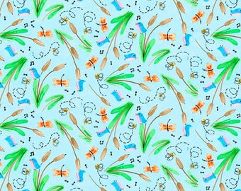 Blank Quilting - Toby the Turtle - Cattails & Dragonflies - Blue - Fabric by the Yard 9046-11