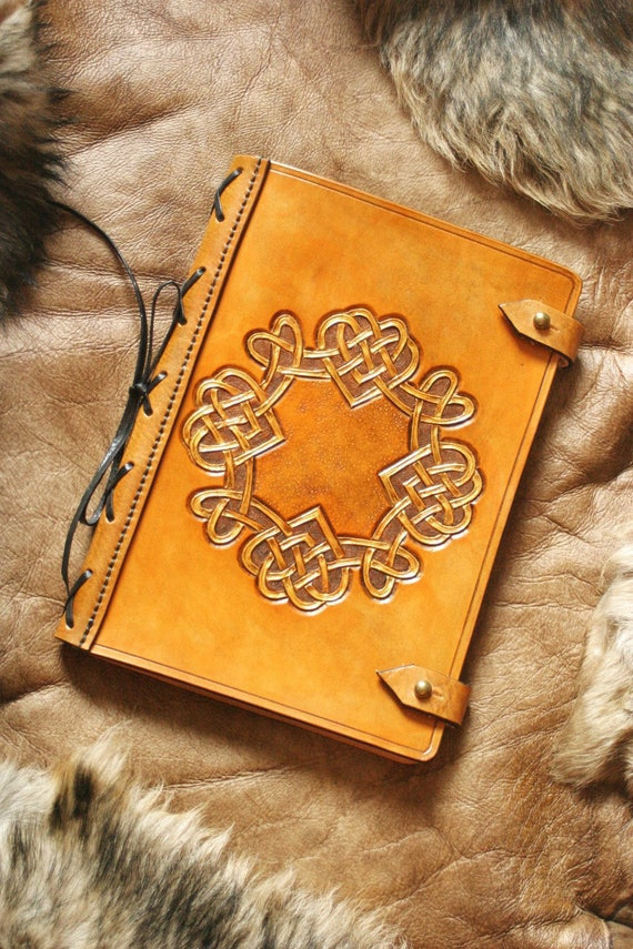 Valentine love gift book of memories journal tooled leather Celtic wedding medieval intertwining hearts