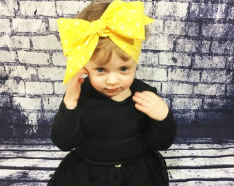 Yellow Dottie Headwrap- Yellow Headband; Polka Dot Headband; Yellow Headwrap; Polka Dot Headwrap; Yellow Bow; Polka Dot Bow; Headwrap