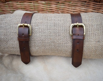 """ONE Handmade Solid Full Grain Leather Strap with brass buckle 1"""" (25mm) wide 3.5mm thick Heavy Duty Luggage Strap Utility Strap made in UK"""