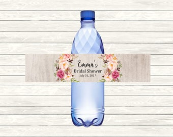 Rustic Boho Printable Personalised Water Bottle Labels, Pink Floral DIY Water Bottle Labels, Custom Boho Bridal Shower Decor Download, 110-A