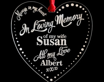 In Loving Memory Remembrance Memorial Heart Shaped Clear Weatherproof Loved One Funeral Tribute Personalised Name Card Gift Sympathy M2