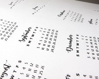 Bullet Journal printable: cute mini calendar for Future Log (English, Swedish, Finnish) UPDATED