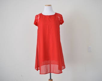 FREE usa SHIPPING vintage 70's A-line red dress lace short sleeves scoop new retro nostalgia hipster size XXL