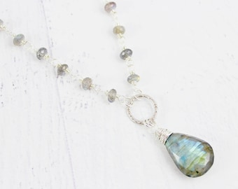 Silver Labradorite Necklace, Sterling Silver Necklace, Labradorite Pendant Necklace, Gemstone Teardrop Necklace, Wire Wrap Necklace