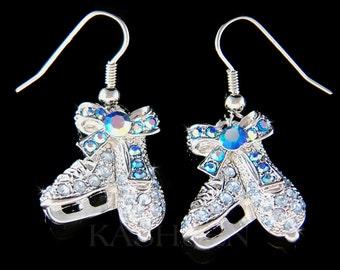 Swarovski Crystal Blue Ice figure Skating Hockey Mom Shoes Skate Charm Dangle Earrings Girls Womens Mother's Day Jewelry Christmas Gift New