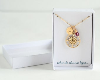 Compass Necklace with Initial - Inspirational Jewelry Necklace - Compass Necklace Gold - Gift for Traveler - And So the Adventure Begins