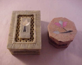 2 Carved Soapstone Covered Boxes with Inlay Flower Top Covers