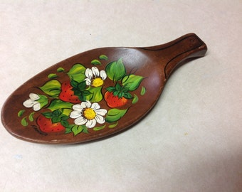 Tole painting wood board vintage strawberries flowers wall hanging