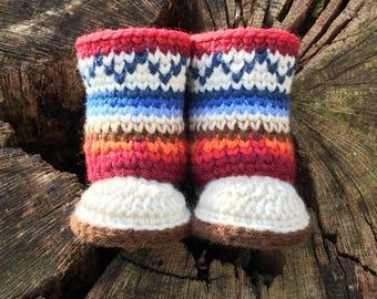 Baby Mukluks Pattern/ Mukluk Baby Boots/ Mini Mukluk Booties/ Crochet Pattern/ Mukluk Baby Booties Crochet/ Mukluk Pattern/ Infant  Mukluks