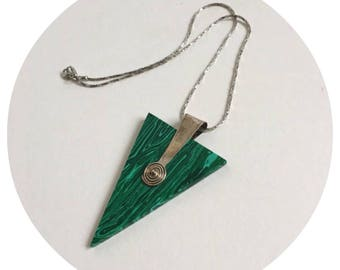 Mia's Jewellery- Abstract Green Perspex and Silver Triangle Pendant necklace