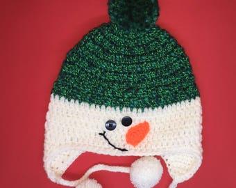 Snowman Hat with Earflaps! - Child / Kids Size - Machine Washable