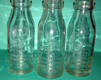 Set of 3, antique, Thomas Edison, embossed, glass bottles