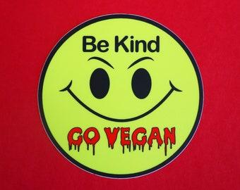 Be Kind Go Vegan Sticker - Ghost Vegan - VHS - 80's Horror Pin - Vegan Horror Halloween Fans