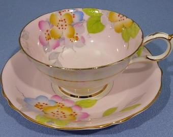 Paragon Tea Cup and Saucer Set, Pink Paragon Tea Cup, Paragon Orange Blossom, Vintage Tea Cup, Tea Party, Made in England 1935