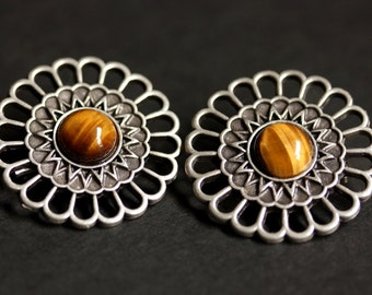 Set of Two Viking Brooches. Tigers Eye Shoulder Brooches. Gemstone Apron Pins. Norse Brooches. Handmade Historical Reenactment Jewelry.