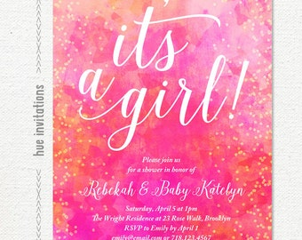 its a girl pink watercolor baby shower invitation, pink coral gold confetti girl baby shower, gold glitter shower invite, baby sprinkle 128