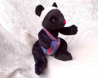 Black DORMOUSE Soft Doll mole plush Decor stuffed animal black sheep handmade soft toy black Doll Nursery Decor unique Mole Home decor OOAK