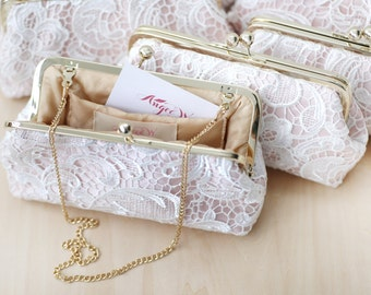 Bridesmaids Clutches - Lace Clutches for Bridal Party in BLUSH PINK - Set of 5 with gift boxes L'HERITAGE