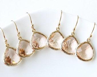 10% OFF, Bridesmaid gifts, Set of 7,8,9,10, Peach earrings, Champagne gold earrings, Peach wedding gift earrings, Peach bridal earring