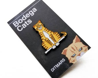 "Bodega Cats ""Ditmars"" Enamel Pin 1.5 x 1.25 in"