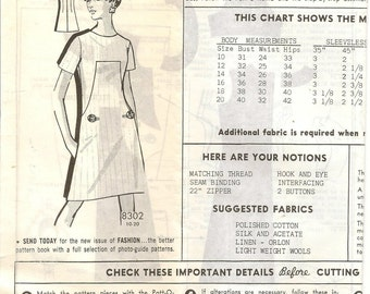 Vintage The Farmers Mail Order Patterns 8302 A-Line Mod Dress Sewing Pattern Size 14 Patt-O-Rama
