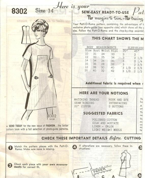 Vintage al correo agricultores patrones 8302 Mod vestido coser ...