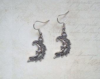 Earrings Moon Silver Colors